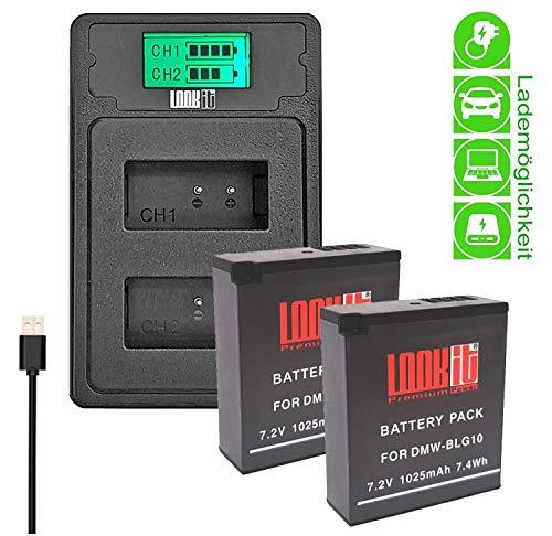 petit un compact LOOKit-2X Premium Battery BLG10-1025mAh + LCD double chargeur compatible avec Panasonic LUMIX…