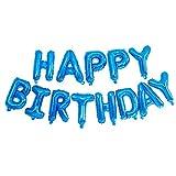 jieGorge Banderines de Globos de Feliz cumpleaños autoinflables, Papel de Aluminio con Letras de 16 Pulgadas (Azul), Adhesivo de Pared, para el día de Pascua (Azul)