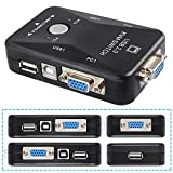 Pasow USB KVM Switch VGA 2 in 1 Out 2 Port Video Sharing Adapter Manual Switcher