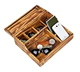 """Mind Reader Nightstand Valet Tray, Phone Watch Holder, Bedroom Desk Organizer, Cosmetic Accessory Storage, Jewelry Box with 7 Compartments, Burnt Wood, Brown 12"""" x 10"""" x 4.5"""""""