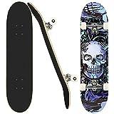 Skateboard Completo per Principianti, 31 'x 8' skateboard adulto, 7 Strati di Acero Double Kick Deck Concavo per Bambino, Giovani e Adulto, Regali per ragazzi e ragazze.(IT STOCK)