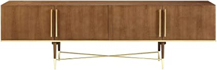 Limari Home Palazzi Collection Mid-Century Style Veneer Finished Dining Room Buffet With Stainless Steel Accents, Handles & 4 Doors With Glass Shelves Inside Walnut & Gold