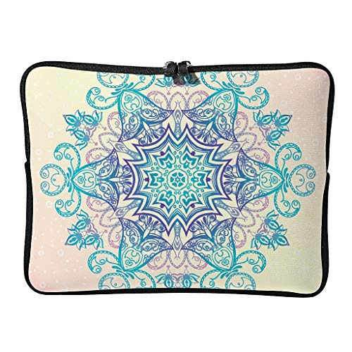Standard Coral Pink Gradient Laptop Bags Slim Multifunctional - Bohemian Laptop Case Suitable for Commuter White 15inch