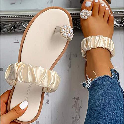 Sandali da Donna Sandali Piatti con Strass Moda Slip on Mules Pantofole Perizoma Donna Toe Loop Infradito Estate Open Toe Slipper Casual Scarpe da Spiaggia,Beige,36