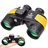 Marine Binoculars for Adults 10x50 Waterproof with Rangefinder and Compass Military Binoculars for Birdwatching Boating(Yellow)