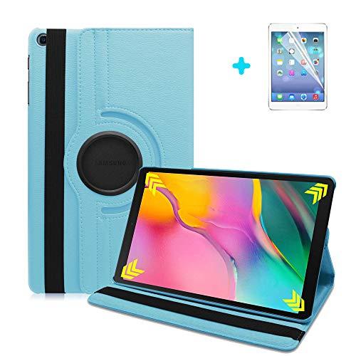 ARECY Samsung Galaxy Tab A7 10.4  (2020) T500 T505, custodia in pelle PU, rotazione a 360°, con funzione leggio per tablet Samsung Galaxy Tab A 10.4 e pellicola protettiva (blu)