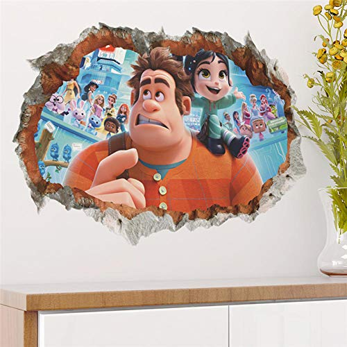 Cartoon Wreck It Ralph Breaking Through Wall Decals Bedroom Home Decor 3D Ralph Breaks The Internet Wall Stickers PVC Mural
