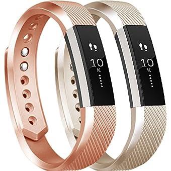 tobfit Fitbit ALTA用HRバンドレディース、メンズ、最新スタイル–スムースTpuローズゴールドandゴールドクラシックFitbit ALTA WatchアクセサリーWristbands with Metal Buckle / Clasp for Fitbit ALTAアルタHRと