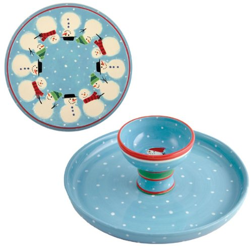 TAG Reversible Cake Plate/Chip & Dip - Snowman
