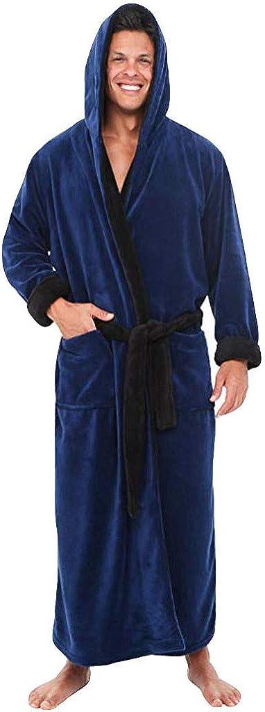 F_Gotal Men's Big and Tall Full Length Long Bathrobe House Coat Pajamas Lengthened Coralline Plush Shawl Bathrobe Robe