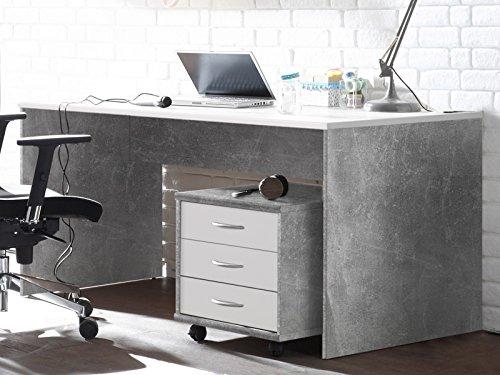 möbelando Schreibtisch Bürotisch Computertisch Arbeitstisch Tisch Büromöbel Olli I Beton/Weiß