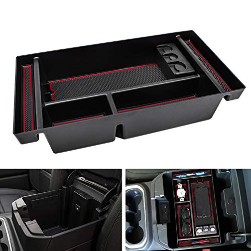 SENSHINE Center Console Organizer for 2019 Chevy Silverado 1500 GMC Sierra 1500 and 2020 Chevy Silverado GMC Sierra 1500 2500 3500 HD Armrest Tray Box (Red Trim, Full Console w/Bucket Seats ONLY)