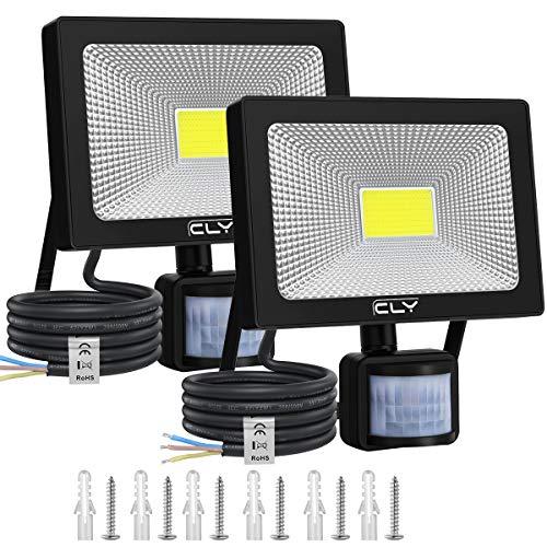 CLY 2 Paquete Focos LED para exteriores de 30 W con sensor de movimiento, 6500 K, impermeables, IP66, 3000LM, lámparas de seguridad LED para jardines, garajes, balcones, patios, cornisas