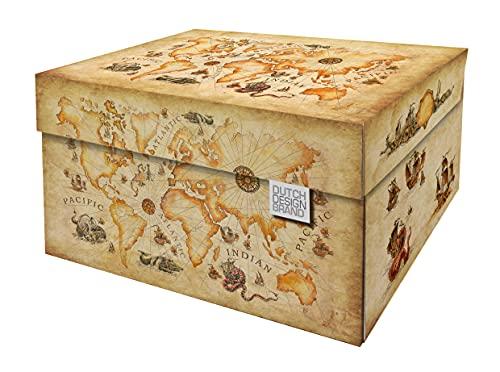 Dutch Design Brand Cajas de almacenamiento decorativas con tapa – Tamaño: 38,9 x 31,8 x 21,1 cm – Cartón reciclable certificado FSC (impresión de mapa del mundo antiguo)