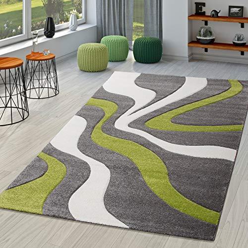 TT Home Alfombra De Salón En Gris Verde Blanco Moderna con Perfil Contorneado, Größe:160x230 cm
