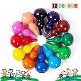 Richgv® Crayones para Niños, Ceras Irrompibles de Colores,12 Colores, no Tóxicos, Lavables, Buen Material de Escritura y Dibujo para Niños, Apilables, Juguetes para Bebés y Niños (Cucurbit)