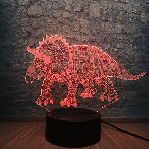 Slaapkamer accessoires voor jongeren LED fietsverlichting nachtlampje 3D dinosaurus 3D Fantasia 7 kleuren veranderende kleur bedlampje bedlampje nachtlampje nachtlampje nachtlampje nachtlampje