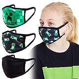 Minecraft Masque Enfant - Lot de 3 Masques Tissus Lavables et Réutilisables Pour Utilisation Intérieur Extérieur - 3 Pack
