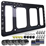 Aootf American Flag License Plate Frame Holder- USA Patriotic Silicone Black Tag Cover for Car Truck SUV, 1 Pack Rustproof Slim Front or Rear Holder with Mount Screws Caps, Automotive Accessories