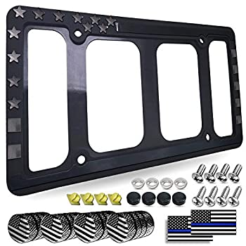 Aootf American Flag License Plate Frame Holder- USA Patriotic Silicone Black Tag Cover for Car Truck SUV 1 Pack Rustproof Slim Front or Rear Holder with Mount Screws Caps Automotive Accessories