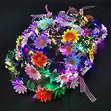 LED Flower Crown, 10 Pack Light Up Flower Wreath Headband Flower Hair Accessories for Girls Women Wedding Festival Holiday Christmas Halloween Party (B Flower)