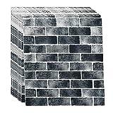 LFHCW Ladrillo 3D Adhesivo Pared Pegatinas Pared Decorativas Panel Piedra Impermeable, DIY Wall Stickers Moderno Decoración para Cuarto de Baño, Sala de Estar y Cocina, 70x77cm(Color:C,Size:60PCS)