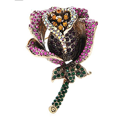 CLEARNICE Vintage Full Rhinestone Rose Brooch Pins for Women Girl Jewelry Gift Classic Design Brooches