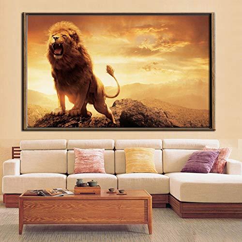 YuanMinglu Löwe Leinwand Kunst Wand Poster Bild der abstrakten Tiermalerei auf Leinwand Rahmenlose Malerei50x70cm