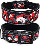 Dog Collar,Reflective Dog Collar Soft Lining Padded Dog Collar & Heavy Duty Metal D Ring & Buckle Dog Collar for Medium and Large Dogs Adjustable Length(1pcs, 2' Width) (M: Adjustable(16'-20'))