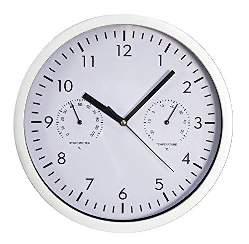 MC POWER - Design-Wanduhr | mit Thermo-& Hygrometer, weißes Ziffernblatt, 25cm-Ø