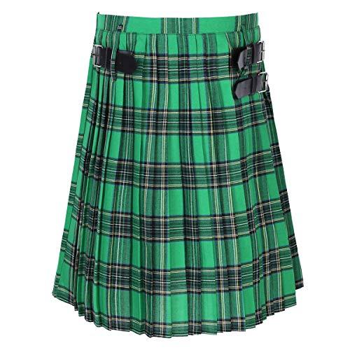 FEESHOW Männer Erwachsene Scottish Kilt Traditional Highland Tartan Kleid Elastischer Bund Plaid Rock Grün Large