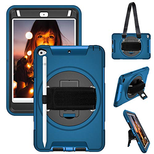 iPad Mini 5/Mini 4 Case with Pencil Holder, Heavy Duty Rugged Full-Body Shockproof Protective Case Cover with 360° Rotation [Hand Strap & Stand] Shoulder Strap for iPad Mini 5th/4th Gen 7.9' for Kids