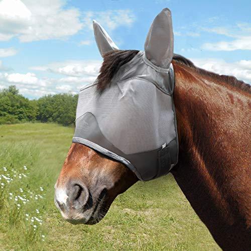 Harrison Howard Maskology - Máscara de mosca para caballo con orejas de malla ultra duradera con protección UV para caballo