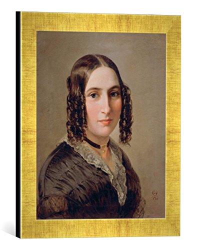 Gerahmtes Bild von Moritz Daniel Oppenheim Fanny Hensel/Gemälde v. M.Oppenheim, Kunstdruck im hochwertigen handgefertigten Bilder-Rahmen, 30x40 cm, Gold Raya