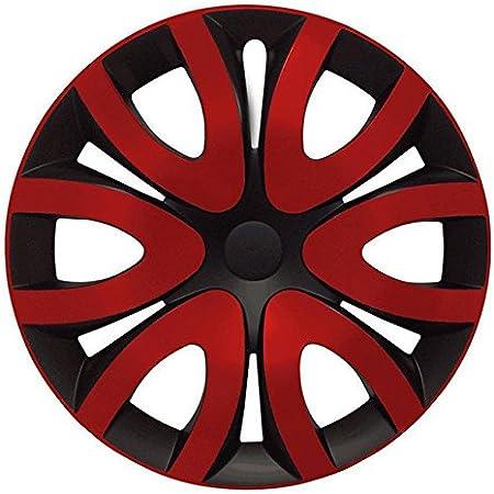 Eight Tec Handelsagentur Größe Wählbar 14 Zoll Radkappen Radzierblenden Mika Schwarz Rot Passend Für Fast Alle Fahrzeugtypen Universal Auto