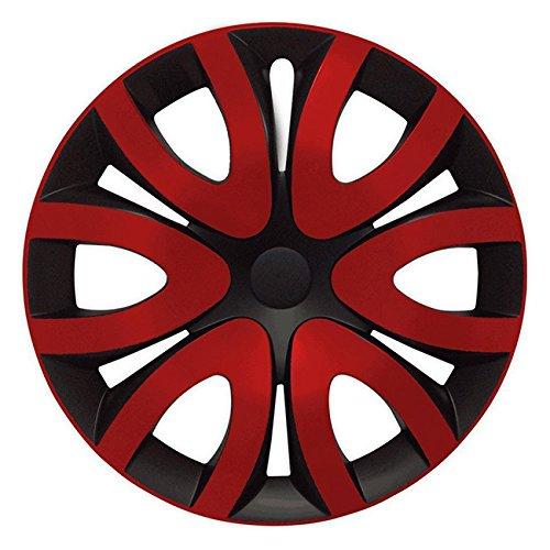 Eight Tec Handelsagentur (Größe wählbar) 15 Zoll Radkappen/Radzierblenden MIKA Schwarz/Rot passend für Fast alle Fahrzeugtypen – universal