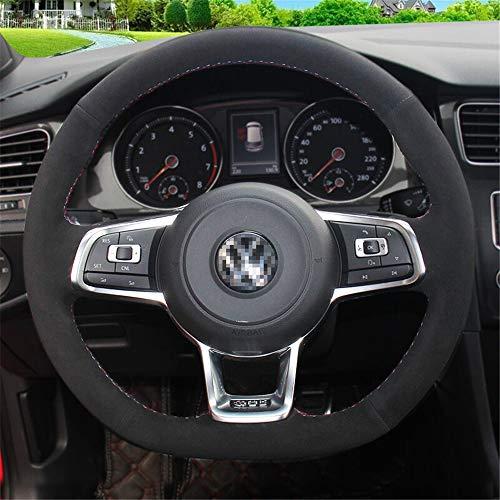 LUOERPI Lenkradbezug aus schwarzem Wildleder, für Volkswagen Golf 7 GTI Golf R MK7, für VW Polo GTI Scirocco 2015 2016