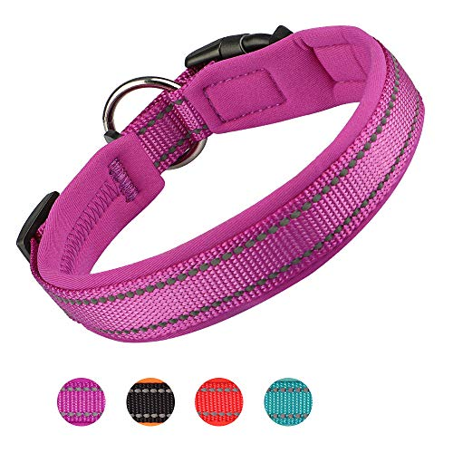Dog Collar, Weatherproof Puppy Collars, Adjustable Reflective Neoprene Padded Basic Dog Collars (S, Purple)