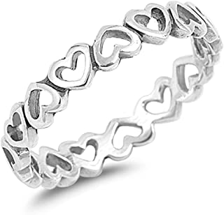 Plain Heart Band .925 Sterling Silver Ring Sizes 4-10