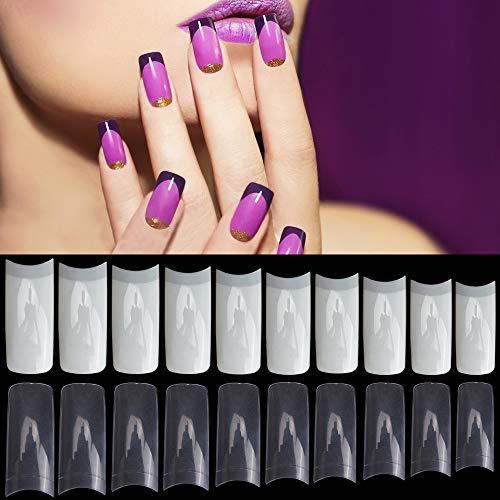 Noverlife 1000PCS Falsche französische Nagelspitzen Maniküre Quadratische Nägel, 10 Größen, Acryl gefälschte Nägel Künstliche Nagelkunst Nagelspitzen Falsche Fingernagelspitzen