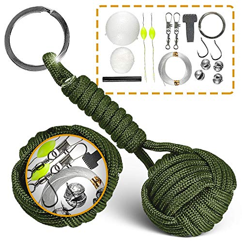 Paracord Keychain Lanyard Tactical Bushcraft Survival Gear #1 Best Flint Fire Starter for Bug Out Bag (Army Green)