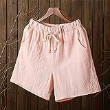 FENGLINZEKANG Baumwoll-Leinen-Shorts Damen Elastic Home Loose Casual Shorts mit Tasche -