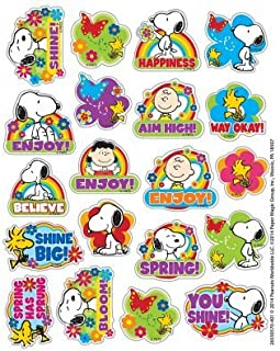 240 SPRING - SNOOPY & Woodstock STICKERS - 12 Sheets of 20 PEANUTS - FLOWERS Butterfly SPRINGTIME - Teacher Motivational Rewards EDUCATION Classroom Party Favors