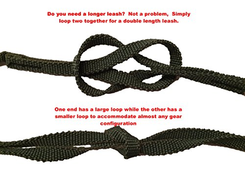 Campingandkayaking Made in The USA! NO Hook & Loop to Fail! Paddle Leash with a 2 Rod Leash Set, 3 Black Leashes Total… 5 3 black gear leashes included, 1 for the paddle, 2 additional leashes for rods or other light gear. If a super long leash is needed, they simply loop together, (See the picture of the loops) Fixed elongation, Will not over stretch and loose elasticity. Woven construction and long bar-tack sewn, Built to last. 20 inches of elongation keeps it out of the way but gives you the reach you need when paddling or reeling in the big one.