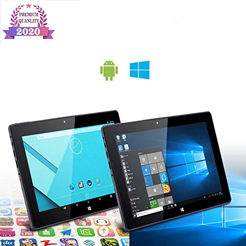 WANGOFUN 10.1 '' Pantalla táctil 2-en-1 de Windows 10 y Android Tablet PC, procesador Intel Quad Core Z8350, 1080P Pantalla, 4 GB de RAM/SSD de 64 GB con USB 3.0, Bluetooth y Puerto HDMI