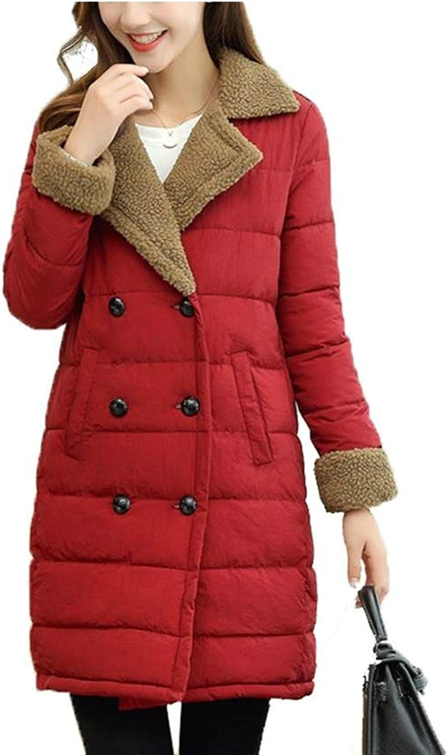 Dotoo Slim LongSleeved Fashion Coat Ladies Winter DoubleBreasted Lapel Cotton Suit
