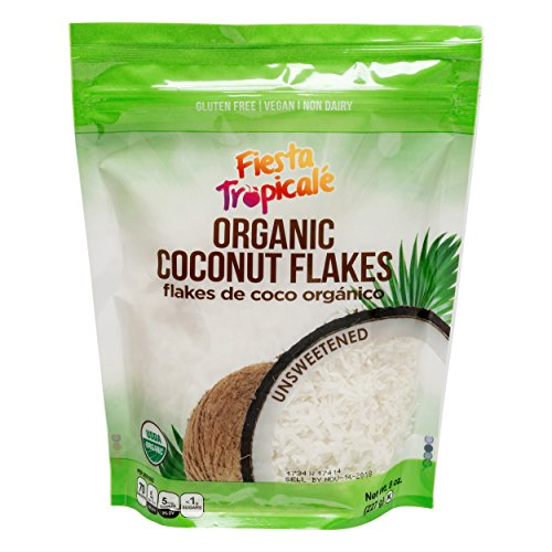 Shredded Coconut Flakes Organic Unsweetened Desiccated Gluten-Free Sugar-Free, Great for Vegan Paleo Keto Recipes, Smoothies Oatmeal Fruits - 8oz. Bag (Count of 3) by Fiesta Tropicale