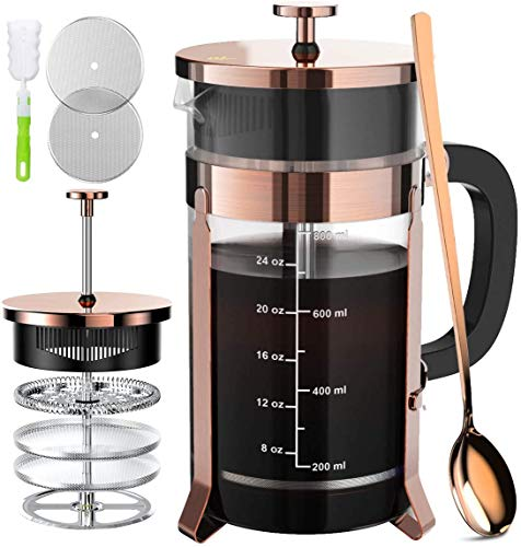 Read About French Press Coffee Maker with 4 Filters, Durable 304 Grade Stainless Steel Heat Resistan...