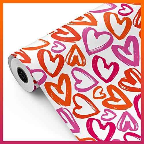 Bobina papel de regalo, rollo grande 62cm x 100m • CORAZONES D • Ideal para: Tiendas Negocios Comercios envolver regalos Cumpleaños Baby Shower Bodas Decoración [FP Fiesta Paper]