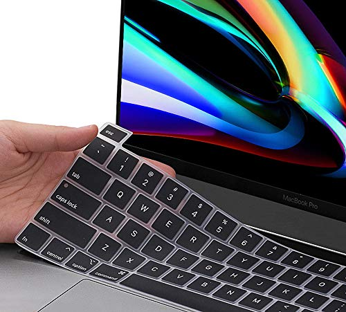 Ultra Thin 2020 MacBook Pro 13 Keyboard Cover for 2020 Newest MacBook Pro 13 Inch A2338 M1 A2289 A2251 with Touch Bar & Touch ID & 2020 2019 MacBook Pro 16 A2141 Silicone Keyboard Cover Skin, Black